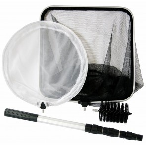 4-in-1 Pond Care Kit Catching Net Skimming Net Telescopic Pole Cleaning Brush