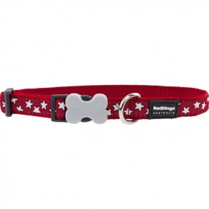 RED DINGO FULLY ADJUSTABLE DOG / PUPPY COLLARS RED STAR