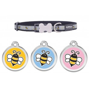 RED DINGO  ADJUSTABLE DOG / PUPPY COLLARS BLACK BUMBLE BEE & DOG TAG