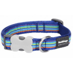 RED DINGO FULLY ADJUSTABLE DOG / PUPPY COLLARS DARK BLUE STRIPE