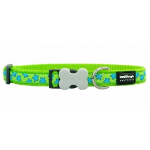 RED DINGO FULLY ADJUSTABLE DOG / PUPPY COLLARS LIME GREEN STAR