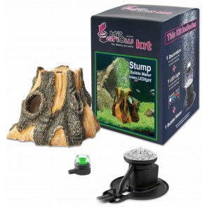 UNDERWATER AQUARIUM STUMP + GREEN LED  & AIR BUBBLE MAKER COMPLETE KIT